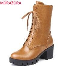 MORAZORA 2020 w nowym stylu botki damskie okrągłe toe jesienne buty zimowe zamek zasznurować buty na platformie punk buty kobieta