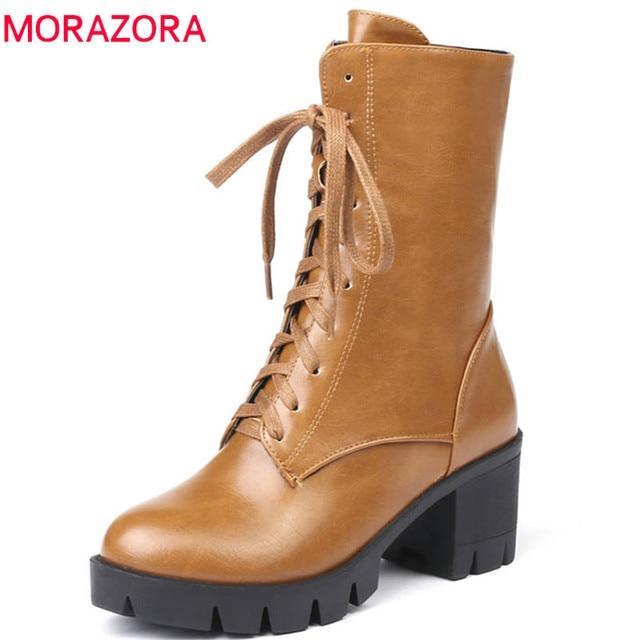 MORAZORA 2020 جديد نمط حذاء من الجلد للنساء جولة تو الخريف الشتاء الأحذية سستة الدانتيل يصل منصة الأحذية فاسق أحذية امرأة