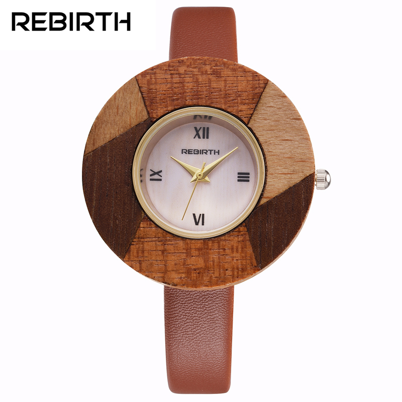 Brand REBIRTH  Bamboo Wooden Watch Women Wristwatches Luxury Leather Genuine Wood Watches For Women Montre Femme Clock Ladies skone wooden watch women men vintage leather quartz wood dress watch clock top luxury brand genuine leather strap wristwatches
