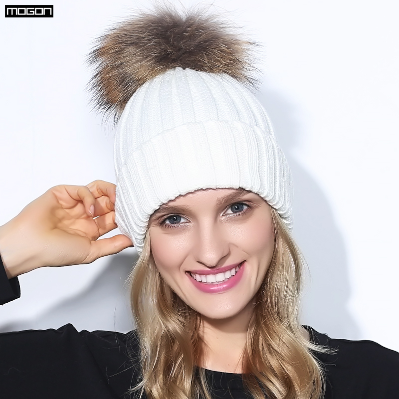 2017 Real Mink Solid Adult Pom Poms Knitted Hat Ball Beanies Winter For Women Girl 's Wool Skullies Brand New Thick Female Cap 2016 real mink solid adult pom poms knitted hat ball beanies winter for women girl s wool skullies brand new thick female cap