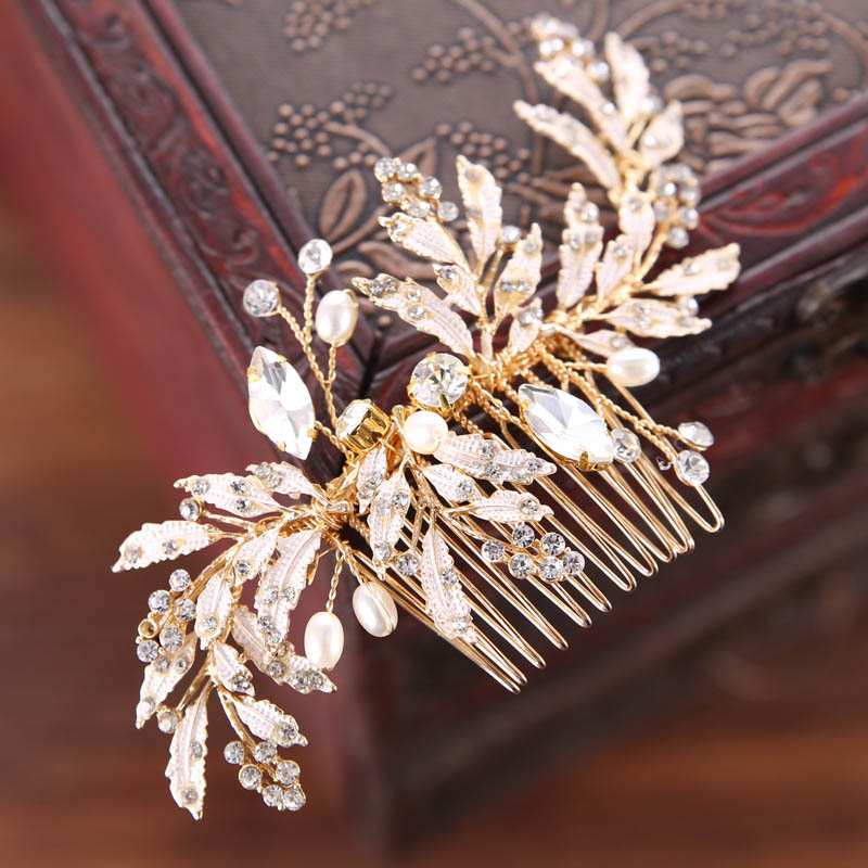 New Fashion Alloy Gold Crystal Bridal Hair Combs Handmade Plant Beads Wedding Hair Sticks Leaves Hair Accessories Headwear LB