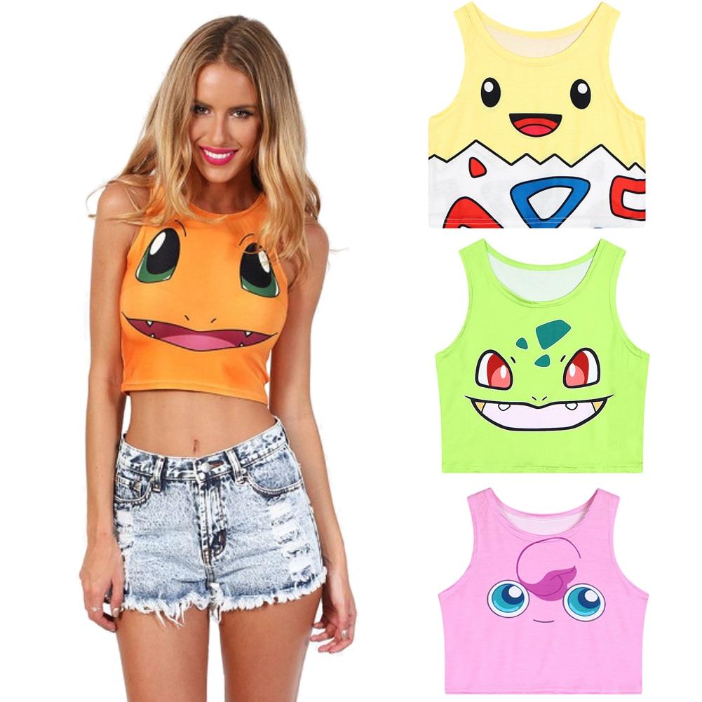 2018 New Cartoon Pattern Crop   Top   Women Camis Pikachu Charmander Squirtle Print   tank     Tops   Colorful Sleeveless Tee Vest