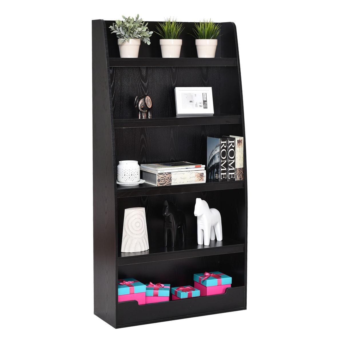 Giantex 5 Layers Bookcases Modern Living Room Bookshelf Storage Display Shelves Wooden Home Office Furniture HW55011 horse display bookshelf wooden furniture