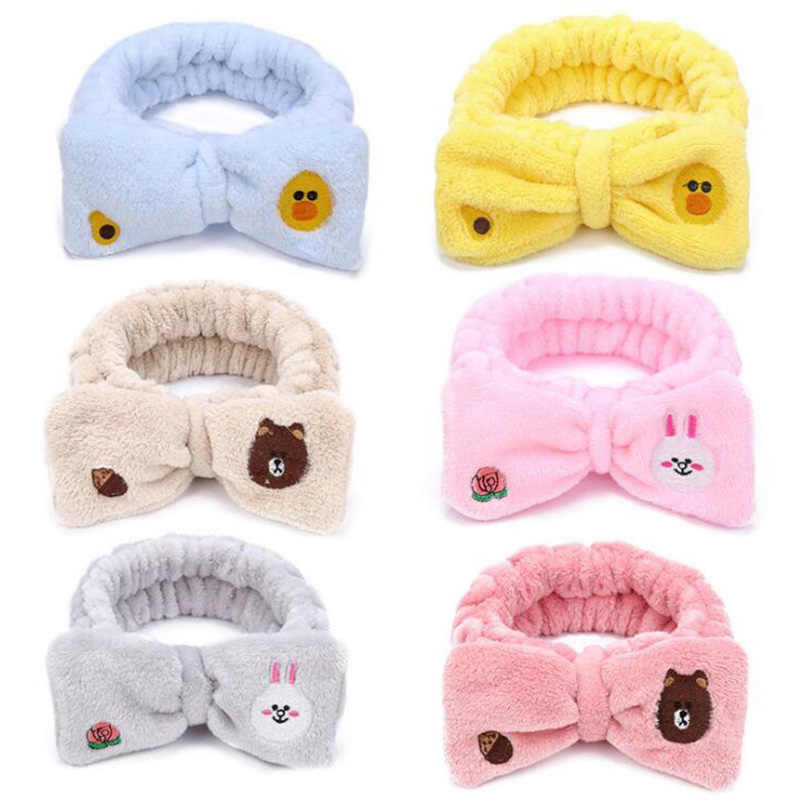 2019 New Fashion colorful Cartoon Bow Coral Fleece Headbands For Women Girls Headwear Hair Bands Hats Lady Hair Accessories
