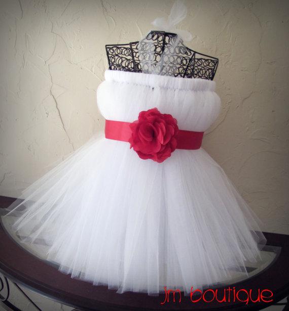 ФОТО white and red flower girl dress children toddler white tulle red applique sash flower girl dresses at wedding kids frocks