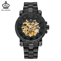 MG ORKINA Men Watches 2017 Black 3D Numerals Engraved Golden Skeleton Automatic Mechanical Male Wristwatches Heren