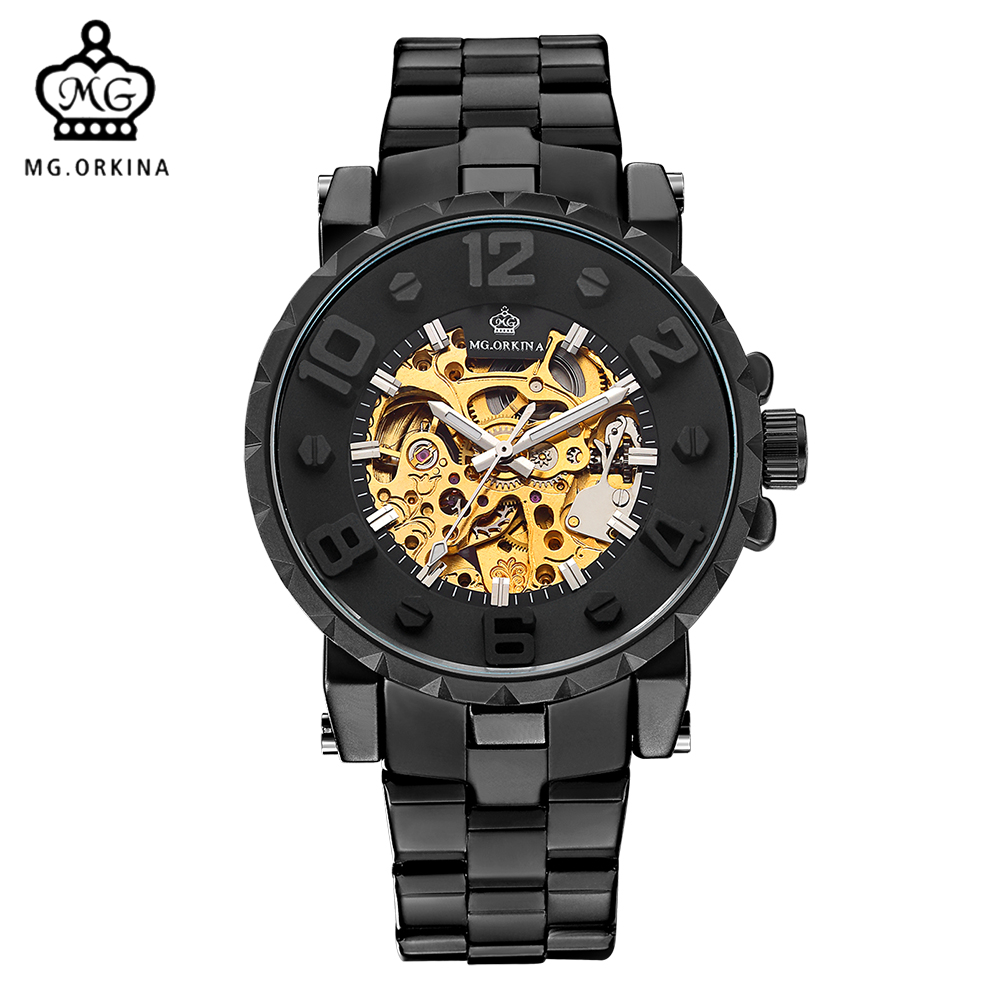MG ORKINA Men Wristwatches 2017 Engraved Golden Skeleton Automatic Mechanical Male Wrist Watch Full Black Relogio