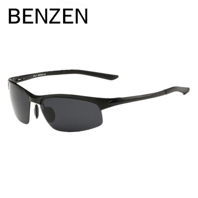 BENZEN Al-Mg Grain Projeto Óculos De Sol Dos Homens Polarizados UV Óculos de Condução Óculos De sol Para Homens Oculos de sol Masculino Com Caso 9090