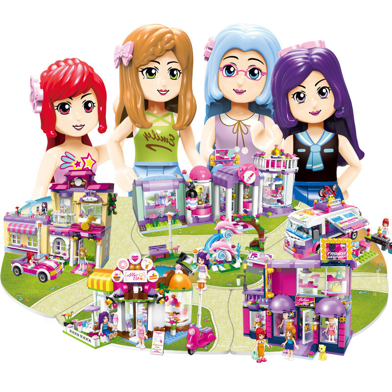Girls Friends City Villa Princess House Building Blocks Models Enlighten Educational Bricks DIY Toys For Children Gifts sluban pink dream sweet drink house educational toys for children building blocks plastic enlighten diy bricks legoe compatible