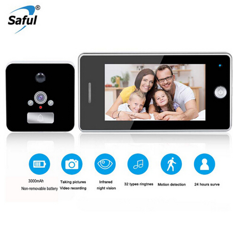 Saful Date 4.3 ''LCD Écran Moniter Caméra Judas Porte Viewer 32 Sonneries Porte Appareil Photo Numérique Vidéo Sonnette pour smart la maison