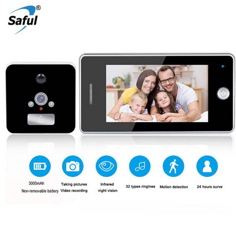 Saful Mais Novo 4.3 ''Tela de LCD Monitor de Câmera de Vídeo Digital Da Porta Peephole Câmera Door Viewer 32 Ringtones Campainha para um crescimento inteligente casa