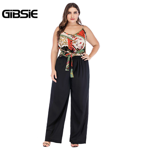 GIBSIE Plus Size Summer 2 Piece Set Mixed Print V Neck Tie Cami Top and Wide Leg Pants Sets Casual Women Two Piece Outfits