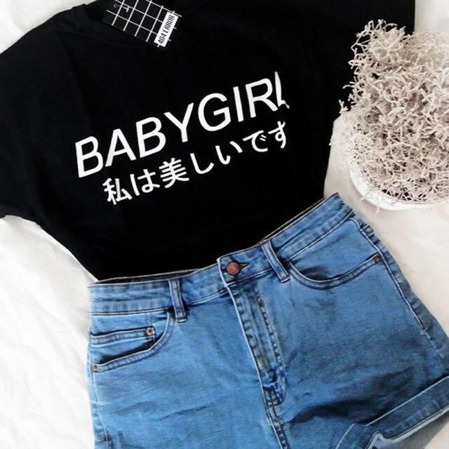 f03dc974ca Babygirl Japonês camisas letra impressa t camisas roupas femininas Harajuku  Inspirado do tumblr Softgrunge Papai Pálido