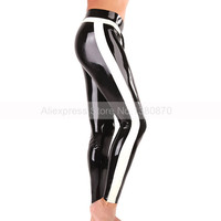 Sexy Latex Man Leggings Rubber Pants Trousers with Side Trim Strips S LTM029