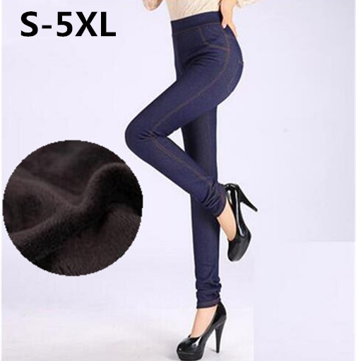 S-XXXXXL 2016 Winter Leggings Women Thicken Warm Pencil Pants Fleeces Inside Faux Denim Trousers Footless Leggings Free Shiping