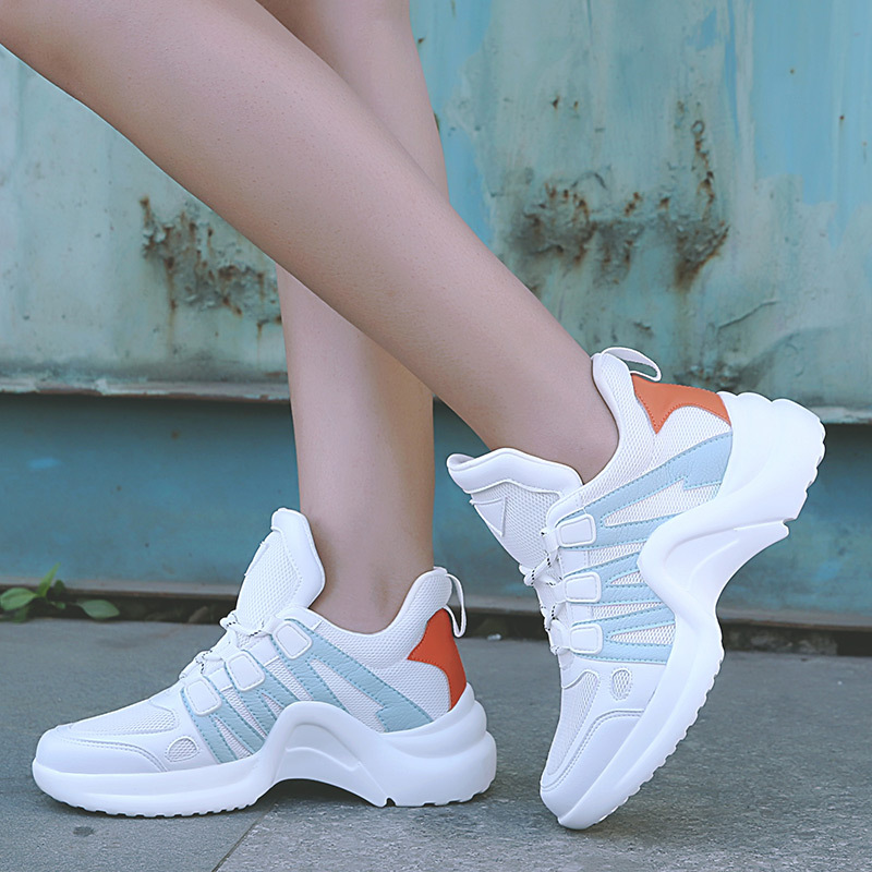 Platform Sneakers Women Vulcanized Shoes White Sneakers Women Trainers Ladies Casual Shoes Breathable Lace Up Zapatos Mujer