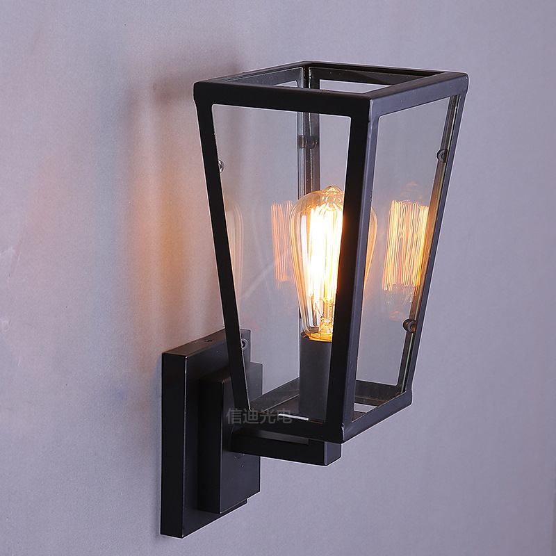 ФОТО vintage creative geometry glass iron frame wall lamp for bedroom bar aisle loft wall scone lights E27 A97