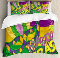 Mardi Gras Duvet Cover Set Size Colorful Bands with Vivid Beads Feathers Mask and Crown Symbol 4 Piece Bedding Set