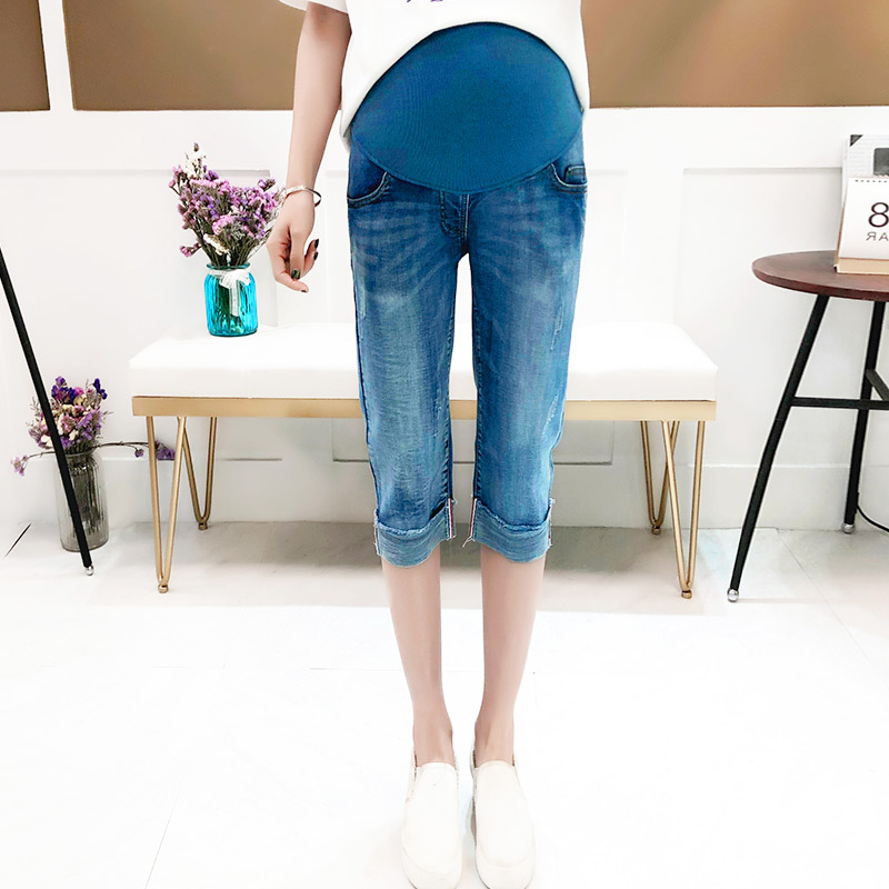 Light Blue Vintage Denim Maternity Jeans Pants Spring Summer Clothes for Pregnant Women Pregnancy Belly Pencil Cuffs Trousers 1032 black stretch denim maternity jeans elastic waist belly pencil trousers clothes for pregnant women autumn pregnancy pants