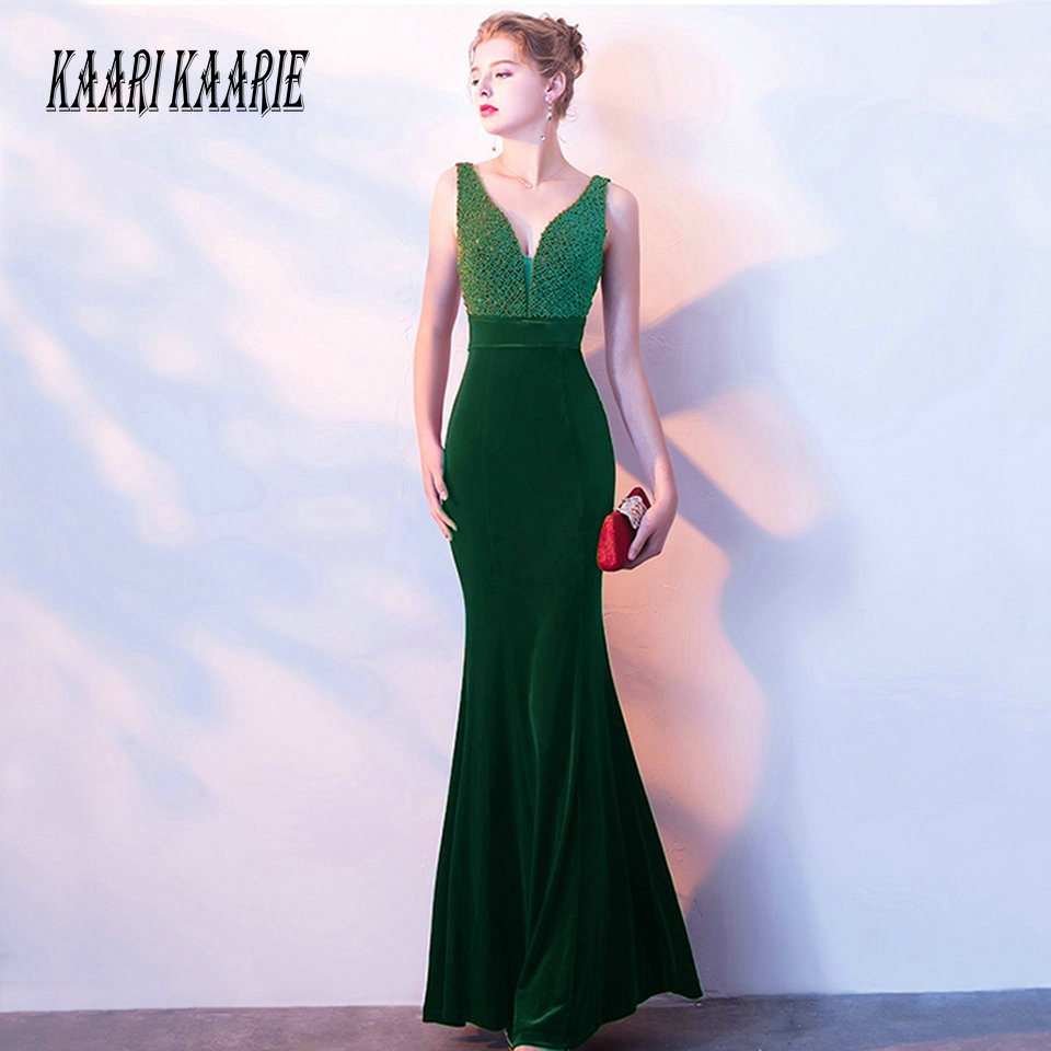 Sexy Dark green Mermaid   Evening     Dresses   Long 2019   Evening   Gown V-Neck Velour Sleeveless Zipper Women Formal Party   Dress   Prom New