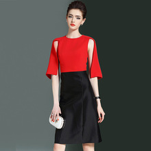Multiflora New Party wear ready to work slight A line dress Sleeve caped red black