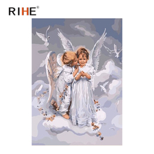 RIHE Angel Kids Oil Painting By Numbers Sky Cuadros Decoracion Acrylic Paint On Canvas For Artwork Modern Coloring