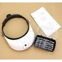Headband LED Lamp Light Illuminating Magnifier Magnifying Glass Loupe Headlamp