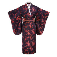 Black red Japanese Women Traditional Kimono With Obi Vintage Evening Dress Performance Dance Dress Cosplay Costume One size