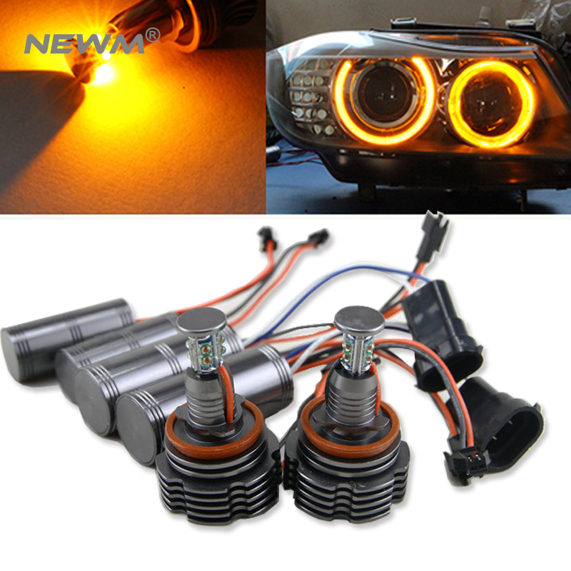 Amber 1 Set Angel Eyes for BMW E60 E61 E63 E64 E70 X5 E71 X6 E82 E87 E89 Z4 E90 E91 E92 E93 80W H8 CREE LED Chips Marker bulb