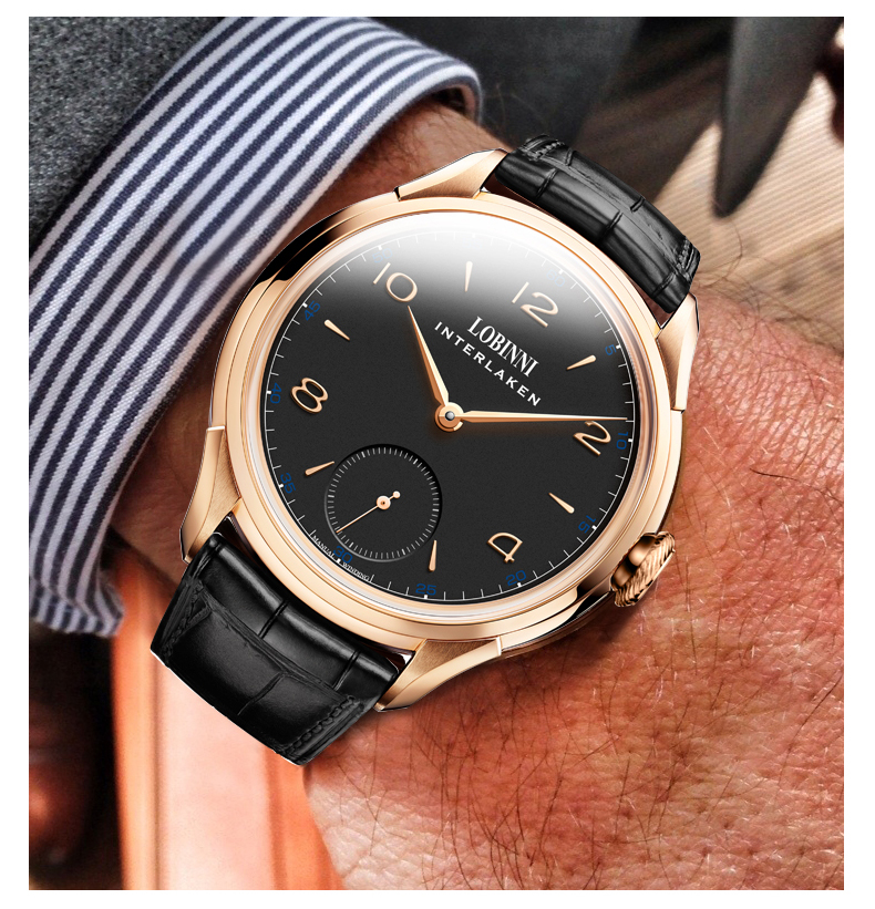 Style Wind Mechanical Watch Business Simple Lobinni Waterproof Wrist Automatic Strap Hand Leather Mens 50m Genuine F5cJu13TlK