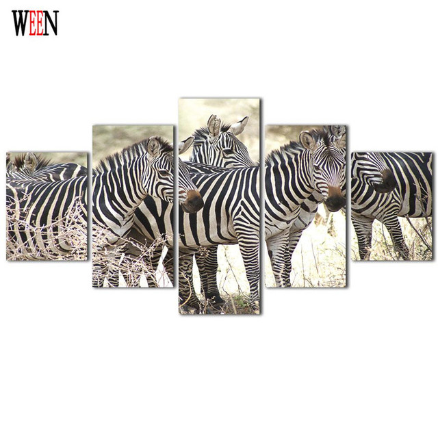 Framed 5Pcs Zebras Group Canvas Art Wall Pictures For Living Room HD ...