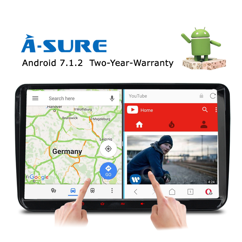 A-Sure 9 Android 7.1 Car GPS 2 GB for Volkswagen VW Tiguan Polo Golf 5 6 Passat B6 Jetta Transporter T5 DAB+ Radio