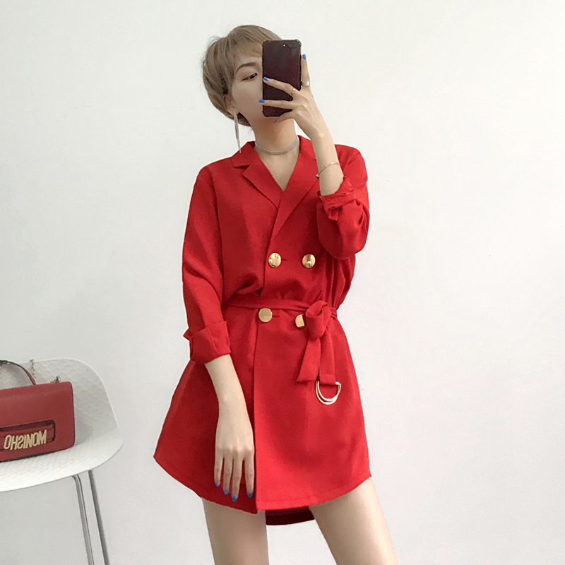 Korean 2019 Spring Casual Women Blazers Solid Mid-Long Double Breasted Sashes Women Blazer And Jackets Femme Plus Size AO532