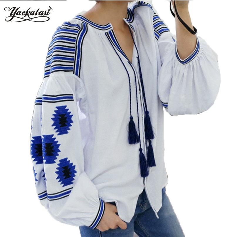 YACKALASI Women TopS Bohemian Blouse Elegant Vestidos Geometric Embroidered Flower Cotton Garment Lantern Sleeve Tassels Loose