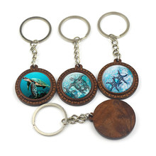 Turtle Dolphin Starfish Shark Art Picture Wooden Keychain Car Key Holder Ocean Animal Glass Cabochon Key Rings Keyfob(China)