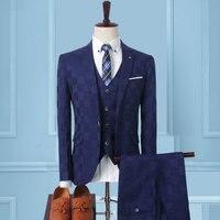 Blue Classic Men Plaid Suit 3 Piece Set Slim Design Men Wedding Suits Size XXL XXXL Men Blazer Jacket and Pants with Vests