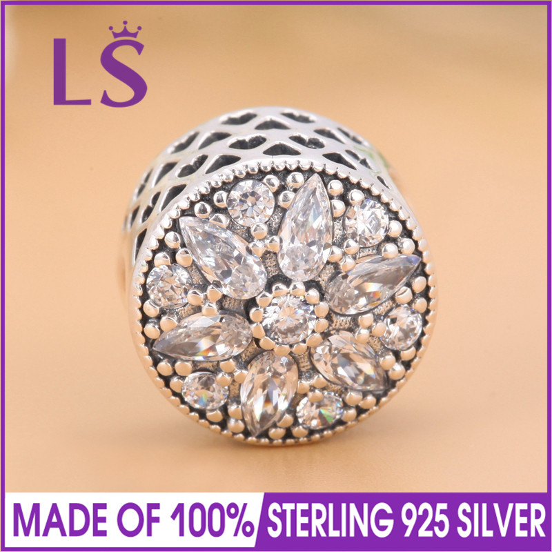 LS High Quality 100%Real 925 Sterling Silver Radiant Bloom Charm Bead Fit Original Bracelets Pulseira Encantos.100% Fine Jewlery