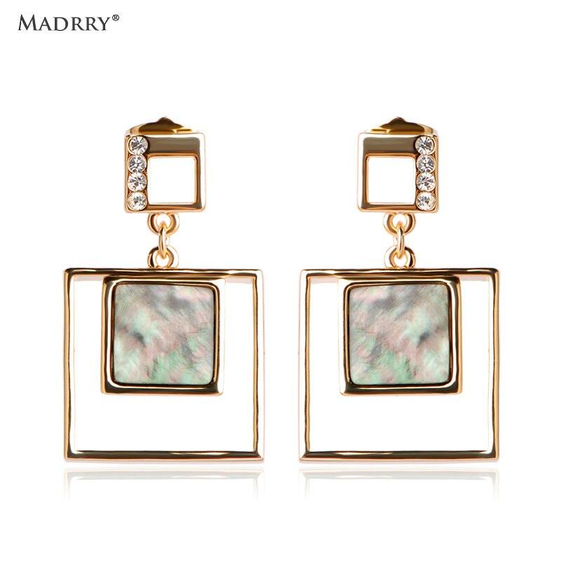 Madrry Fashion Square Shell Long Drop Earrings For Women Dangle Brincos Gold color Femmes Wedding Bridal des boucles doreilles