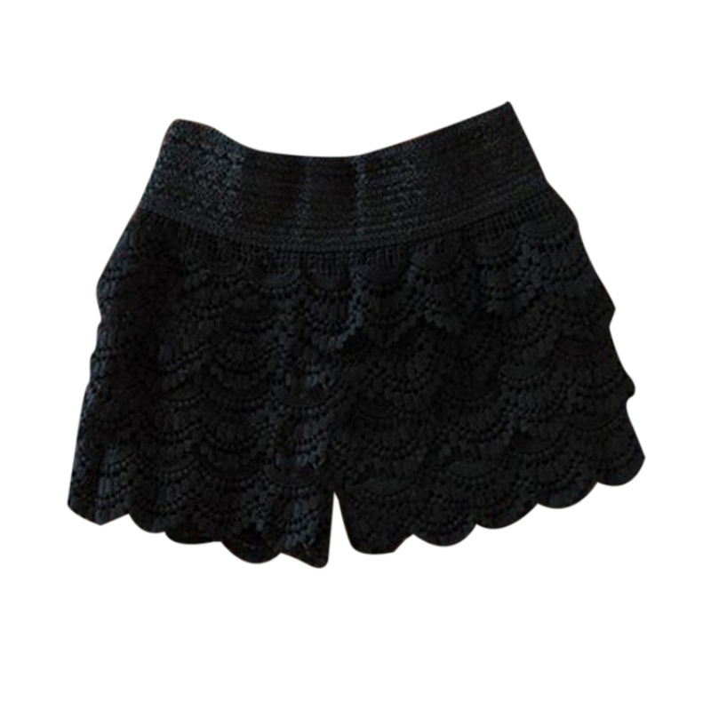 2019 Summer   Shorts   For Women Fashion High Waist Lace   Shorts   Female Hook Flowers Sheath   Shorts