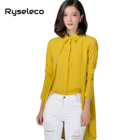 Ryseleco Women Pure Color Irregular High Low Dovetail Casual Blouses Ladies OL Formal Work Wear Panels