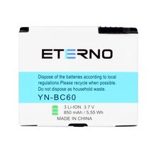 ETERNO Replacement BC60 Battery for Motorola c261 L2 SLVR L2 SLVR L6 SLVR L7 Rechargeable Cellphone Batteries 850mAh(China)