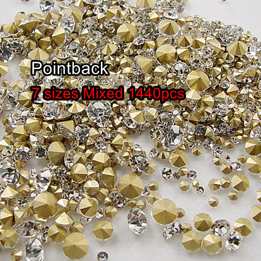 7 Sizes Crystal Clear 1440pcs SS6 SS8 SS10 SS12 SS16 SS20 SS29 Point Back  Rhinestones glass strass chaton stone 83c44f7084b6