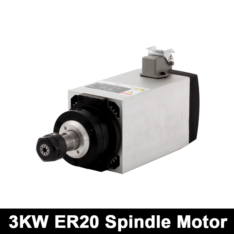 3KW CNC Spindle Motor ER20 Square Router 220V/380V Air Cooled Spindle Motor With 4 Bearings For Engraving Milling Machine Tools new arrivel air cooled spindle square spindle 2 2kw er20 spindle 0 01 precision high arccuracy cnc engraving machine & inverter