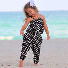 New Baby Girl Polk Dot Jumpsuit Trousers One Piece Harem Pants 2-7 Year Kids Summer Clothing