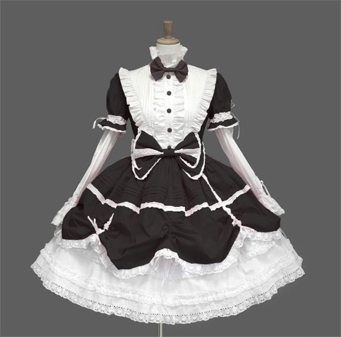 Robe Lolita gothique victorienne robe de princesse Halloween Costume Lolita Cosplay robe en couches pour femme de chambre jeux Cosplay - 6