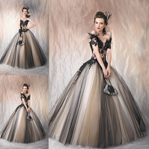 Vintage Black Lace Ball Gown Gothic Wedding Dresses Plus: Vintage Ball Gown Bride Wedding Dress Bridal Gowns Elegant