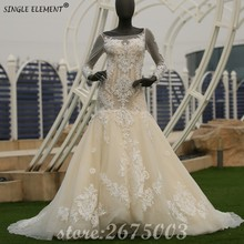 Real Photo Mermaid Applique Lace Luxury Wedding Dresses With Long Sleeve