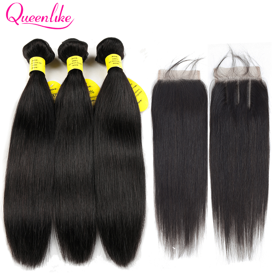 QueenLike Products Real Human Hair 2 3 Bundles With Closure Color 1B Non Remy Straight Brazilian