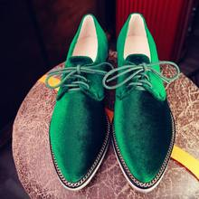 Krazing Pot New fashion big size brand spring shoes green velvet thick heel women pumps pointed toe causal preppy style shoes 66