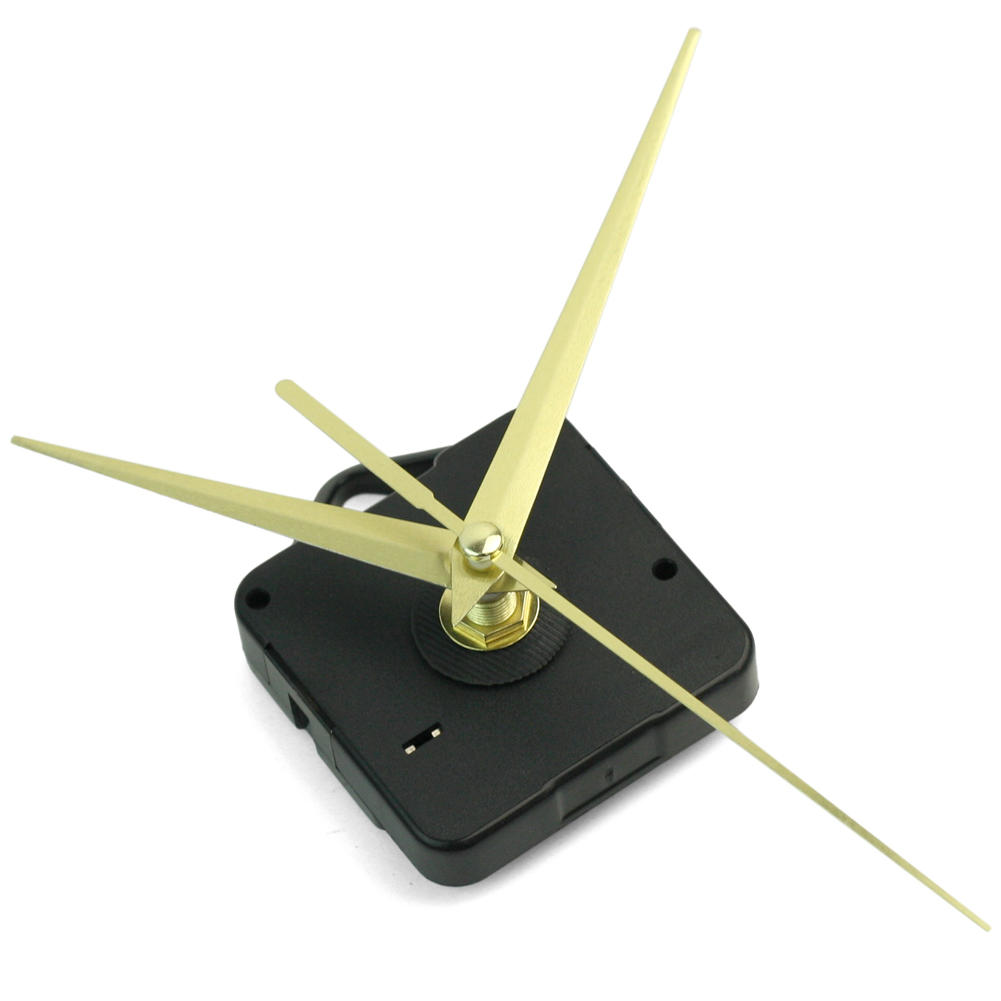 1 x clock movement 3 Gold Hands Powered by one AA battery Black
